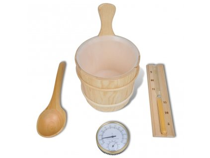 Doplňky do sauny 5ks vědro, lžíce, přesýpací hodiny, teploměr/vlhkoměr
