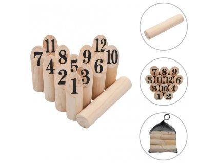 Kubb s čísly herní set dřevěný