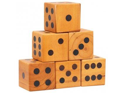 Sada obřích hracích kostek 6 ks masivní borové dřevo