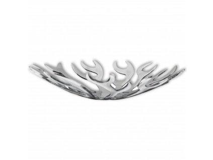 Mísa / košík na ovoce, tvar plamenů hliník stříbrná
