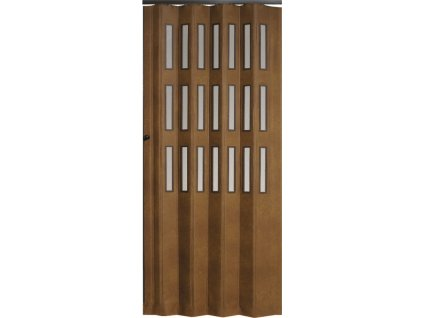 Koženkové shrnovací dveře šířka na míru do 70cm (ODSTÍN TMAVÁ HNĚDÁ, TYP prosklené, VÝŠKA DVEŘÍ 251-260cm)