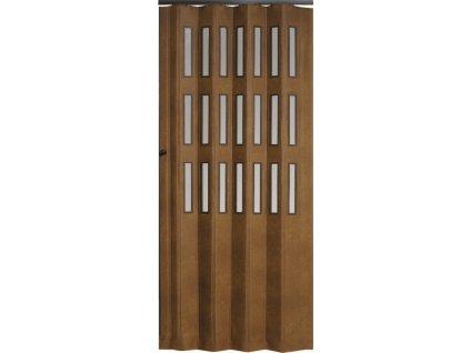Koženkové shrnovací dveře šířka na míru do 130cm (ODSTÍN TMAVÁ HNĚDÁ, TYP prosklené, VÝŠKA DVEŘÍ 251-260cm)