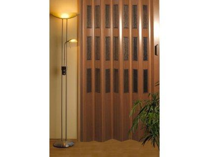Plastové shrnovací dveře - imitace dřeva, výška na míru 201-250cm