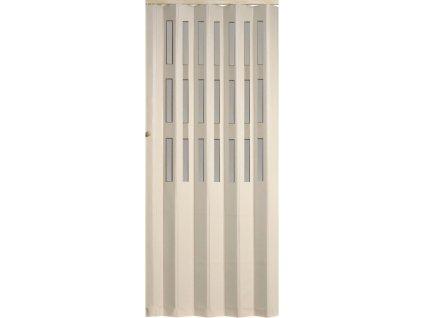 Koženkové shrnovací dveře - bílé, 83x200cm (TYP prosklené)