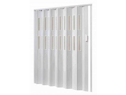 Plastové shrnovací dveře, šířka a výška na míru do 121-132x250cm (ODSTÍN HNĚDÁ, TYP DVEŘÍ plné)