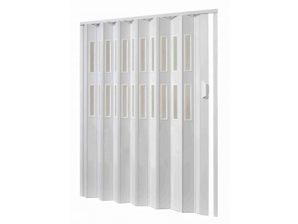 Plastové shrnovací dveře, šířka a výška na míru do 158-164x250cm (ODSTÍN HNĚDÁ, TYP DVEŘÍ plné)