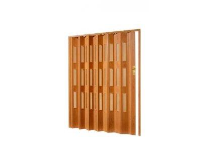 Plastové shrnovací dveře v imitaci dřeva, šířka a výška na míru do 78-83x200cm (ODSTÍN TMAVÝ OŘECH, TYP DVEŘÍ plné)