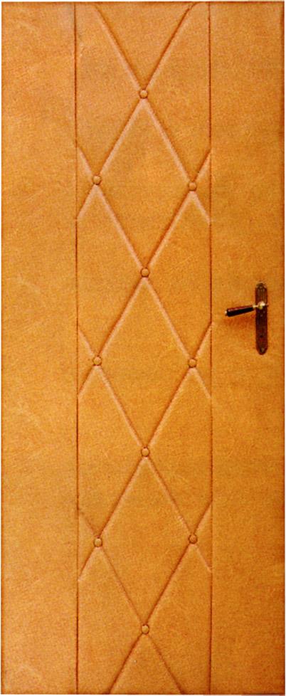 Koženkové čalounění dveří 90x200cm - okrová