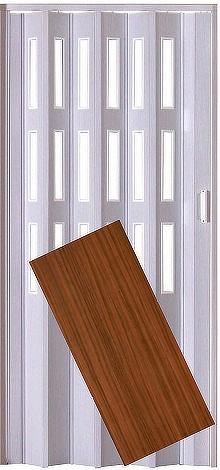 Plastové shrnovací dveře LUCIANA ořech ŠÍŘKA: 73cm, PROVEDENÍ: PLNÉ