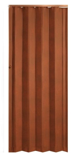 Koženkové shrnovací dveře tmavě hnědé - prosklené TYP: plné