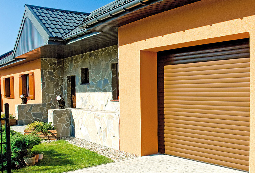 Garážová rolovací vrata BR-77E šířka 230cm ODSTÍN: TMAVÝ DUB, OTVOR VÝŠKA: 200cm