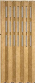 Koženkové shrnovací dveře 83x200cm světlá hnědá TYP: prosklené