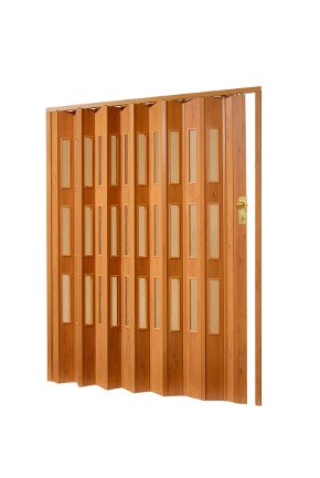 Plastové shrnovací dveře imitace dřeva do 85x200cm TYP DVEŘÍ: plné