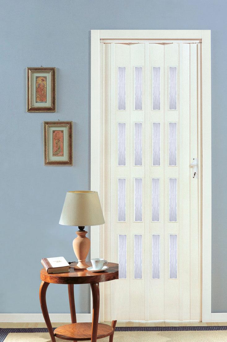 Shrnovací dveře PETROMILA bílý dub ROZMĚR: 62x200cm