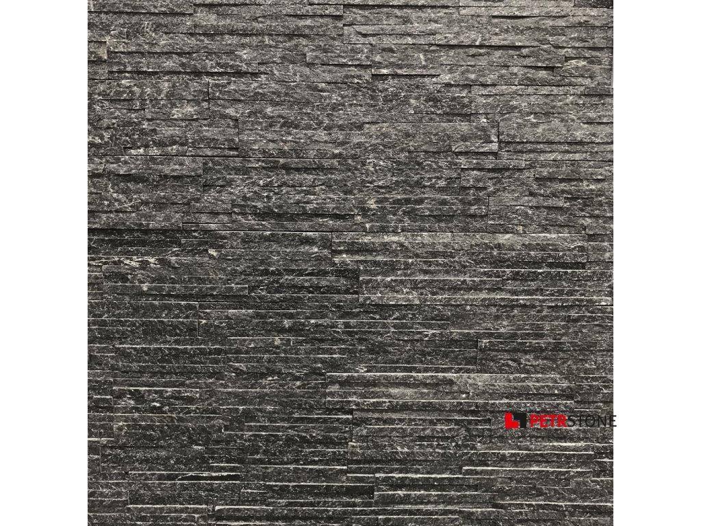 Kvarcit černý lesklý tenké pásky 1