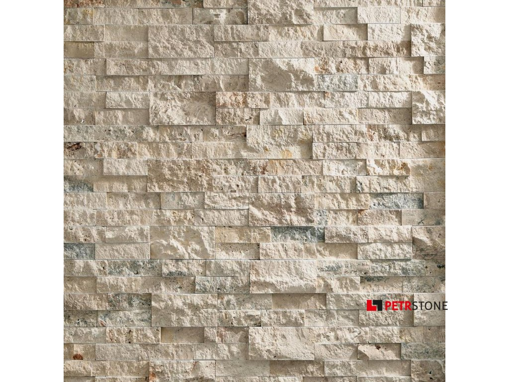 100527399 roman beige splitface travertine panel ledger display