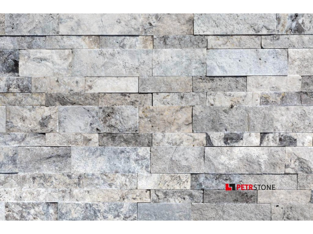 10107183 Silver Travertine Stacked Stone Ledger Panel close top view 2S3A2647