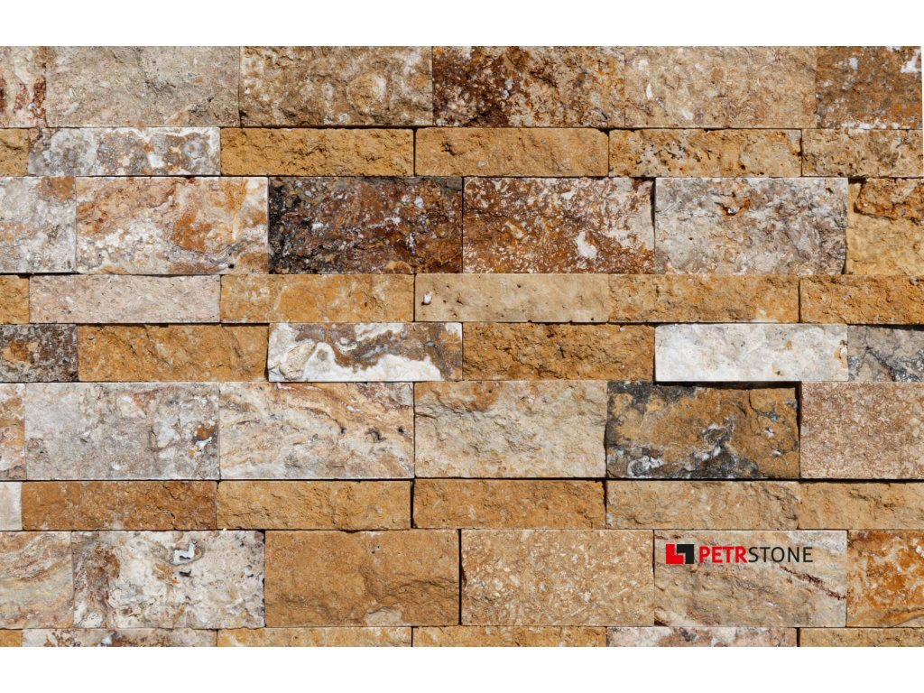 20107184 Scabos Travertine Splitface Ledger Panel Stacked Stone close view 2S3A2649