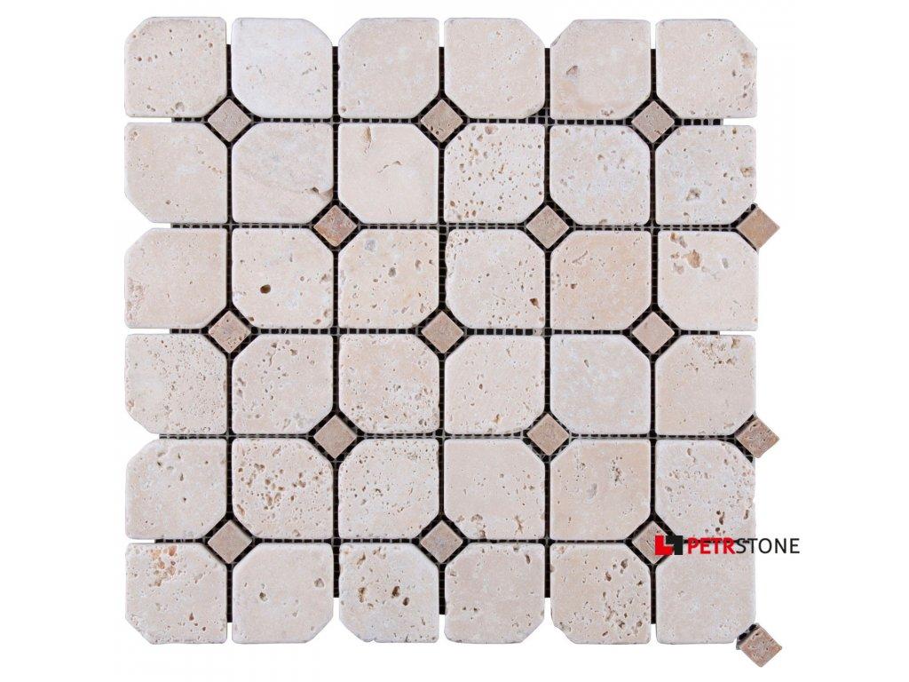 Mozaika Travertin Light HEX 30,5x30,5x1 cm
