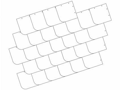 Univerzální krytí čtverec s obloukem nebo sraženým rohem