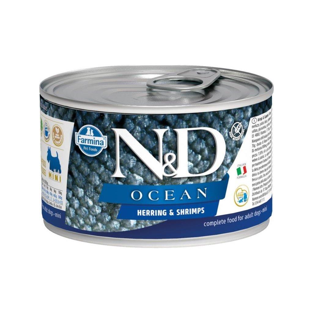 N&D OCEAN Dog konz. Adult Herring & Shrimps Mini 140 g-DOPRODEJ