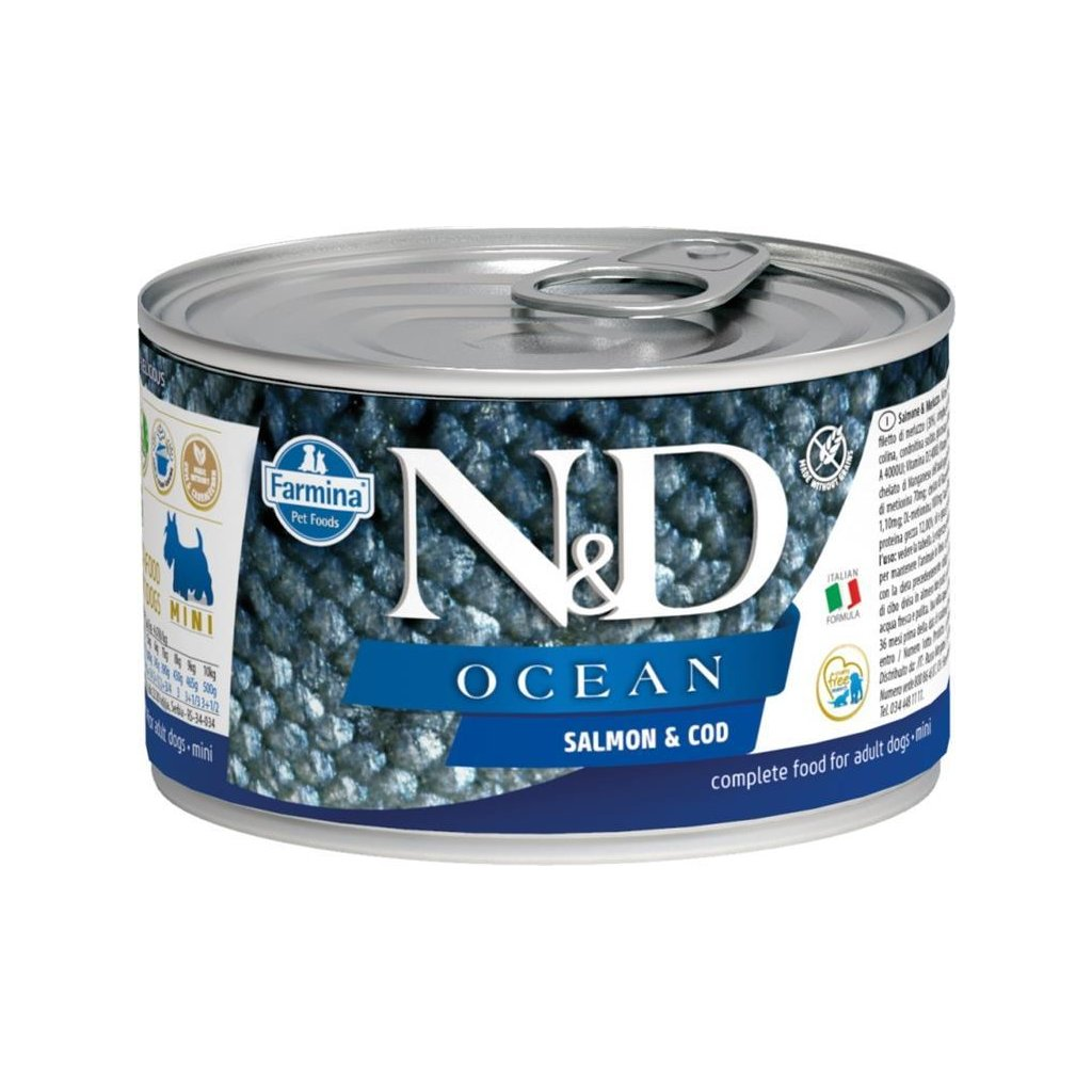 N&D OCEAN Dog konz. Adult Salmon & Codfish Mini 140 g- DOPRODEJ