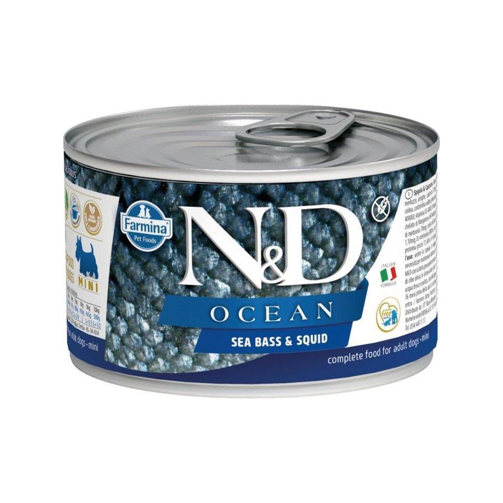 N&D OCEAN Dog konz. Adult Sea Bass & Squid Mini 140 g (Exp.)