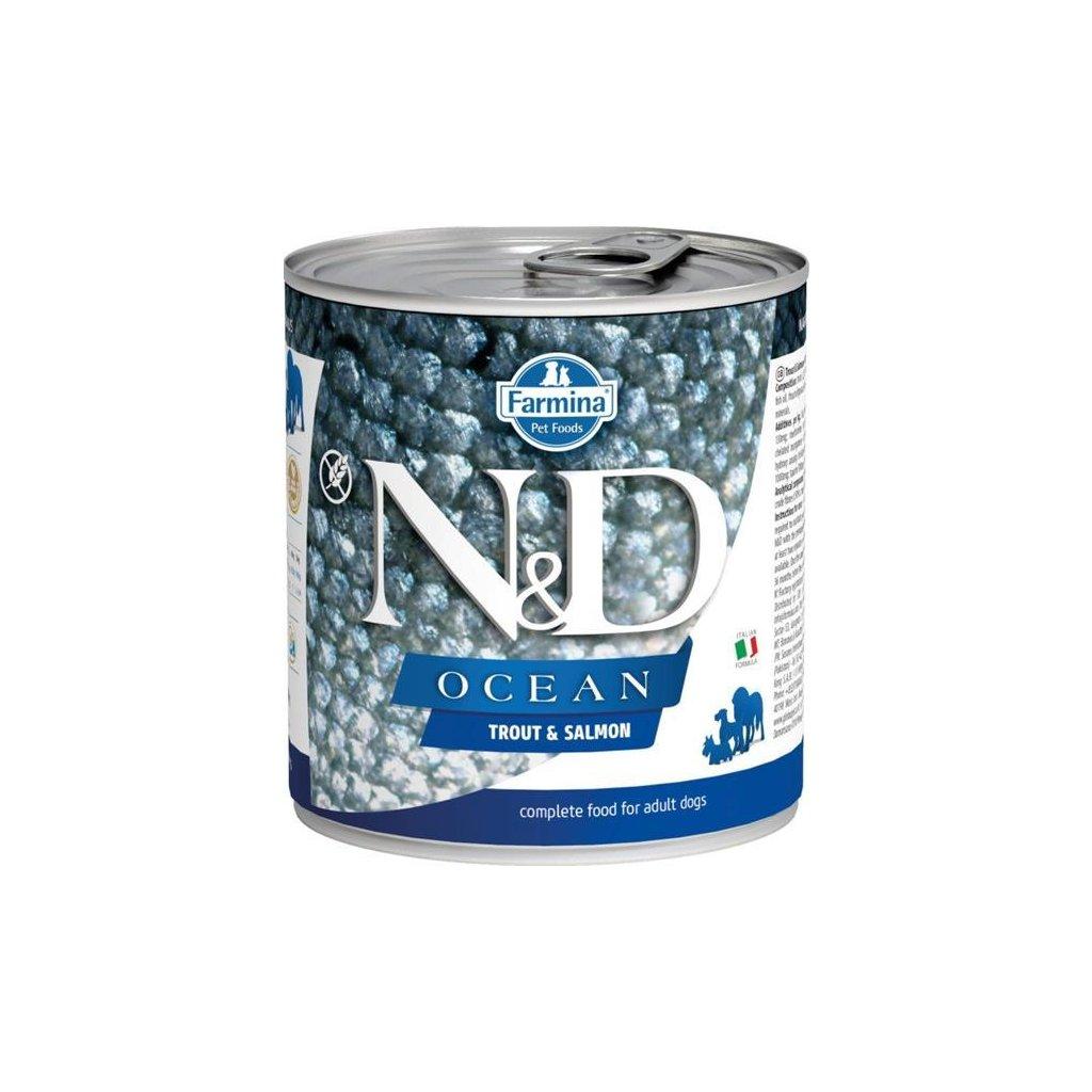 N&D OCEAN Dog konz. Adult Trout & Salmon 285 g- DOPRODEJ