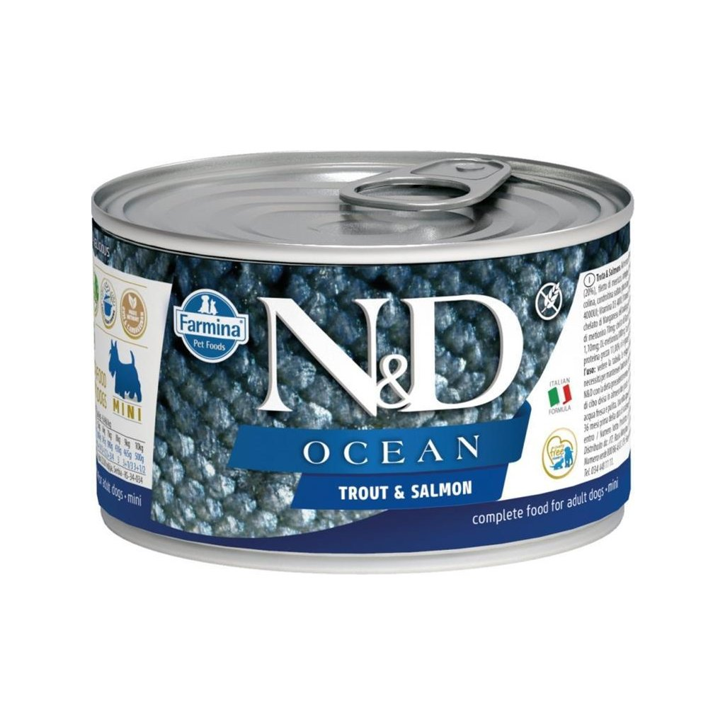 N&D OCEAN Dog konz. Adult Trout & Salmon Mini 140 g-DOPRODEJ