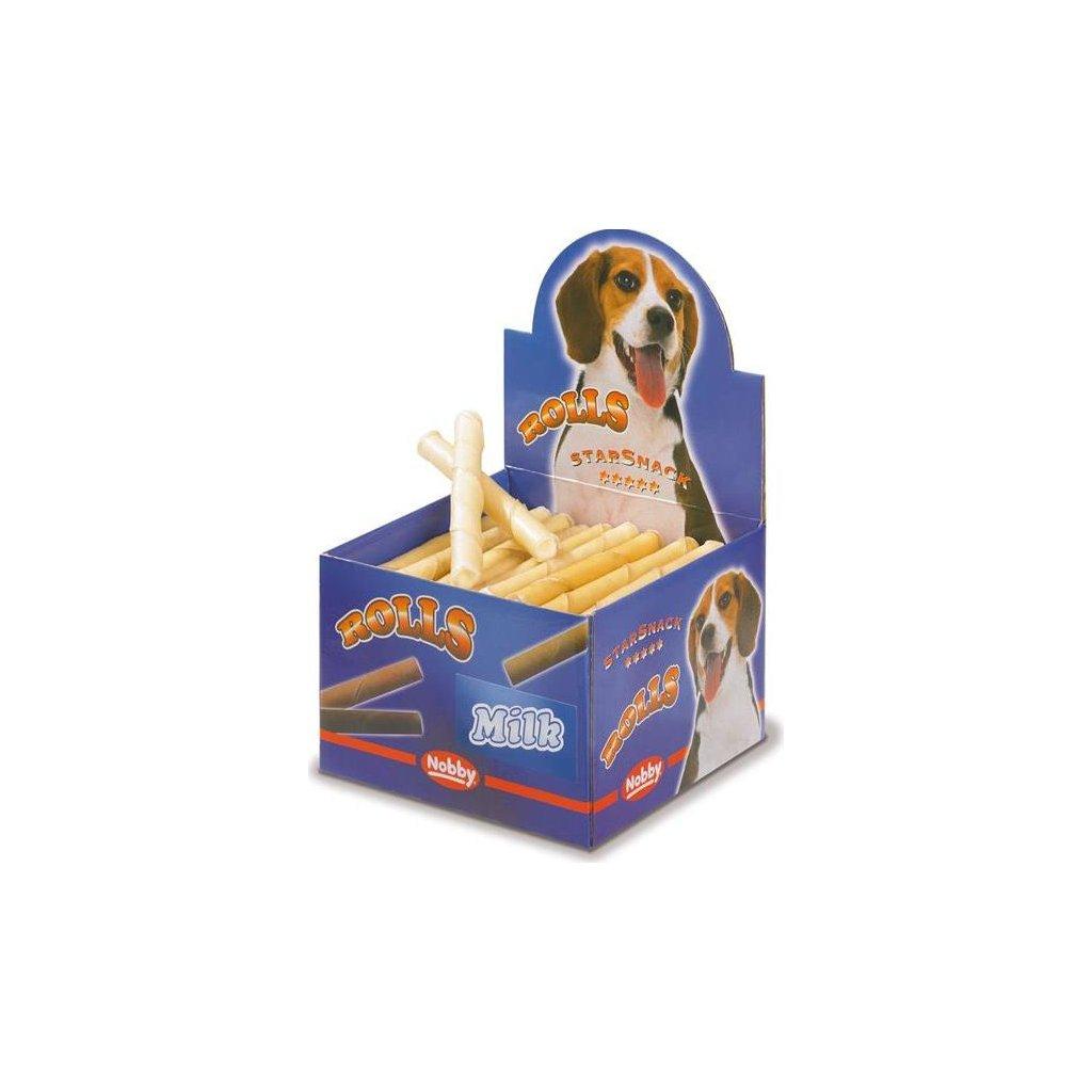 Buvolí trubičky plněné - mléčné Nobby display 50 ks