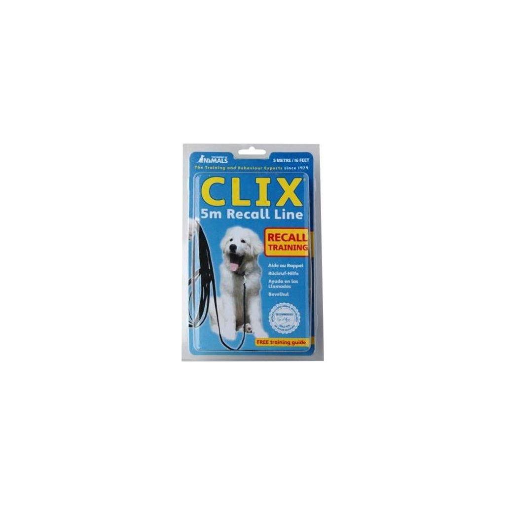 Vodítko stopovací popruh - černé Clix 5 m