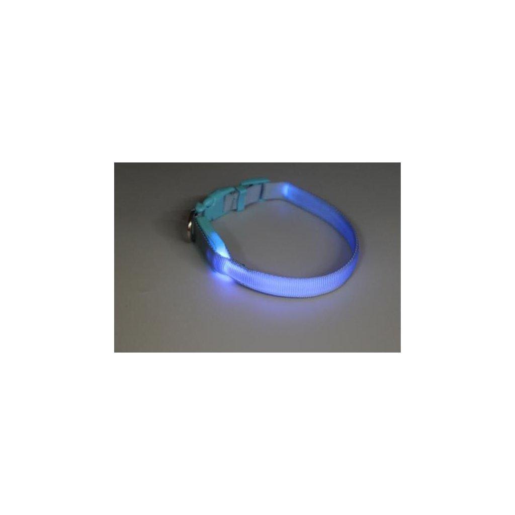 Obojek nylon svítící s plast. dutinkou modrý B&F 1,50 x 28-38 cm