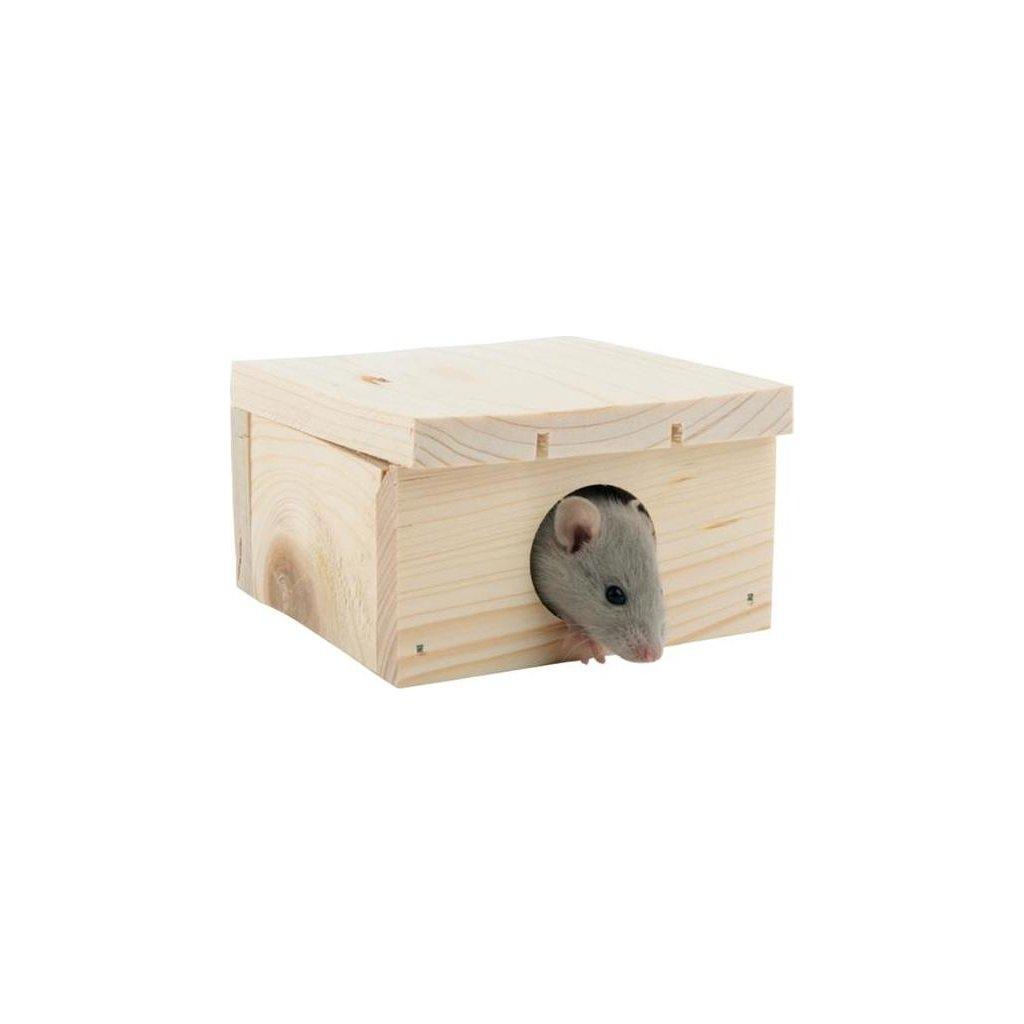 Domek dřevo křeček, myš rovná střecha 10 x 6 x 10 cm