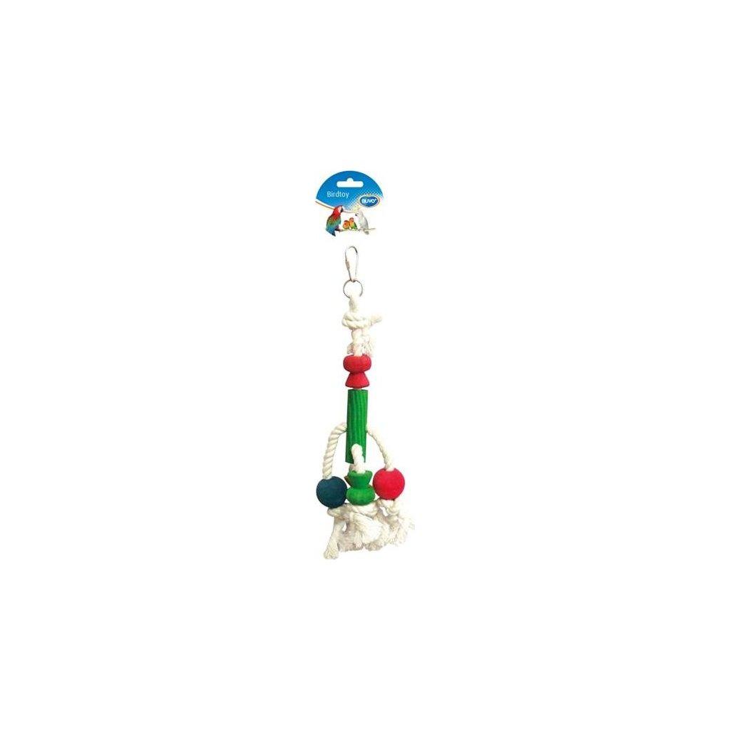 Hračka pták dřevo/bavlna - kostky Duvo+ 33 cm