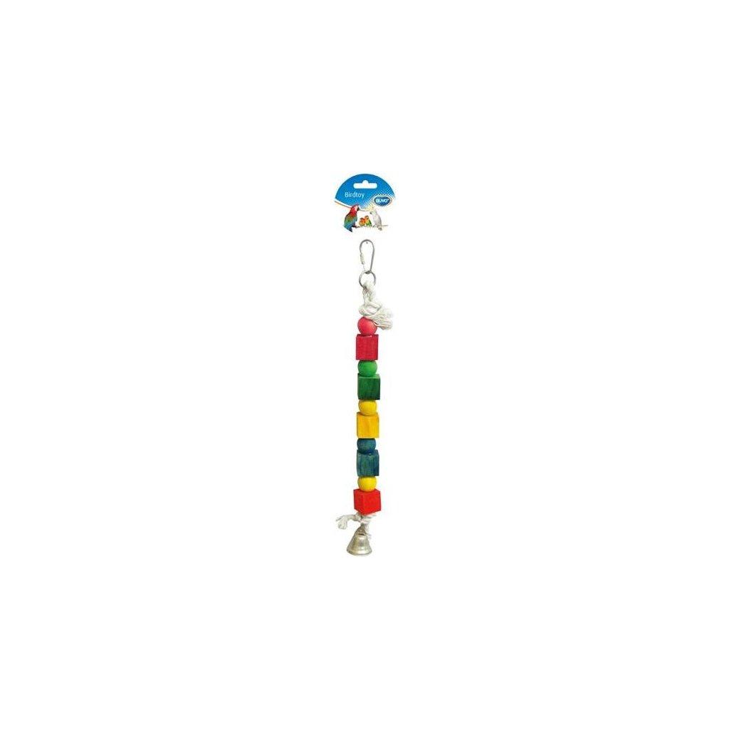 Hračka pták dřevo/bavlna - kostky a zvonek Duvo+ 35 cm
