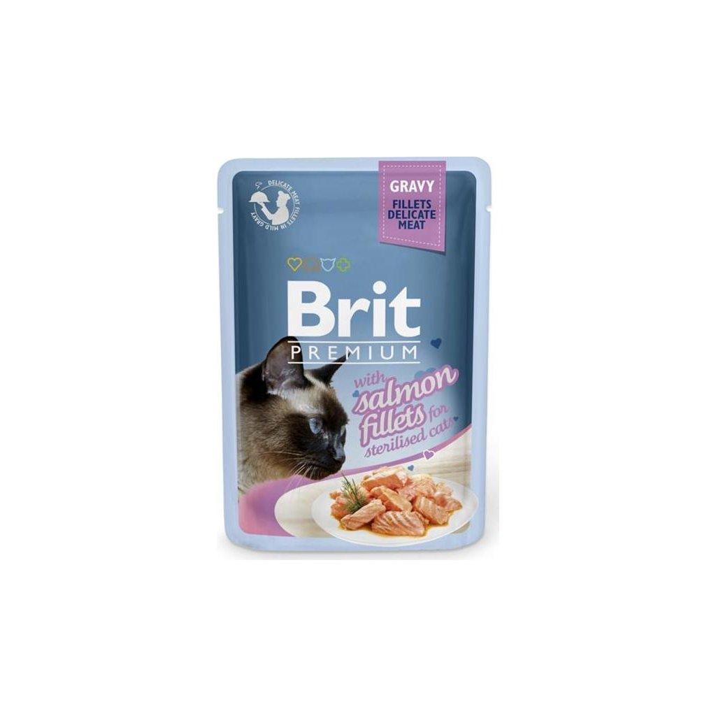 Brit Premium Cat kaps. Delicate Fillets in Gravy Salmon for Sterilised 85 g