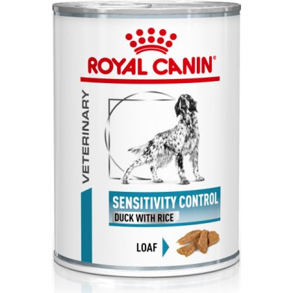 Veterinary Health Nutrition Dog Sensitivity Control Duck&Rice Can-0.42Kg-doprodej skladu