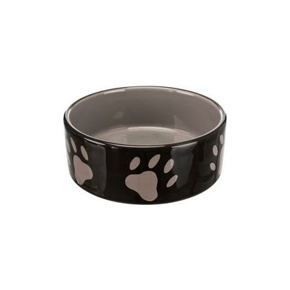 Miska keramická pes Hnědá/tm.šedá s tlapka 0,8l 16cm