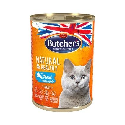 Butcher's Cat Natur.&Healthy kousky pstruha v želé400g