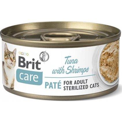Brit Care Cat konz. Sterilized. Tuna Paté with Shrimps70 g