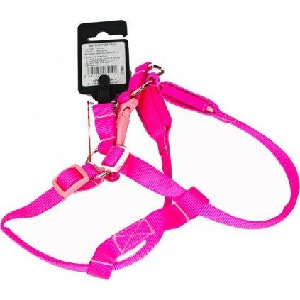 Postroj nylon svítící s plast. dutinkou růžový B&F 30-43 cm