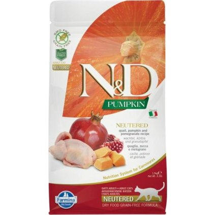 N&D Grain Free Cat Adult Pumpkin Neutered Quail & Pomegranate 1,5 kg