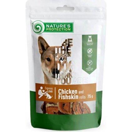 Nature's Protection Dog snack kuře a rybí kůže rolka 75 g