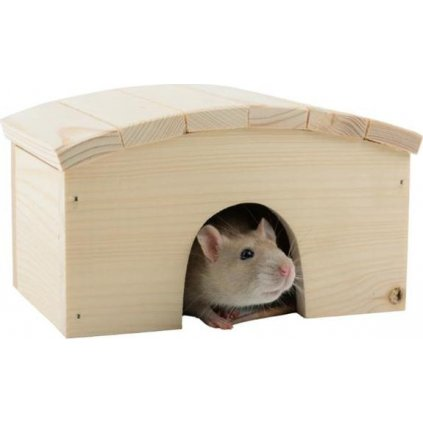 Domek dřevo křeček obloukovitá střecha 18 x 12 x 10 cm