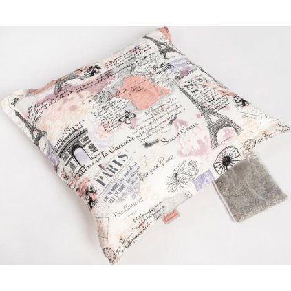 Polštář bavl. Paříž krémový s bylinkou 45 x 45 cm, 20 g levandule