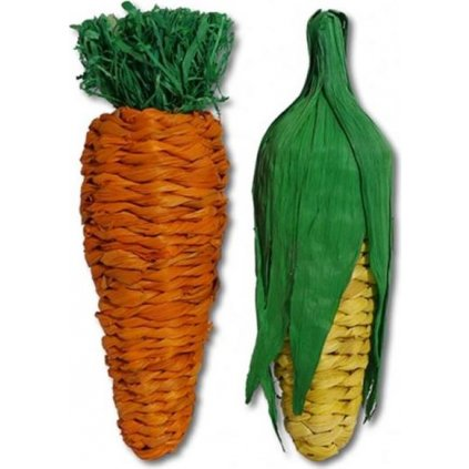 Hračka hlod. přírodní Jumbo Play Veg Carrot+Corn RW 21cm
