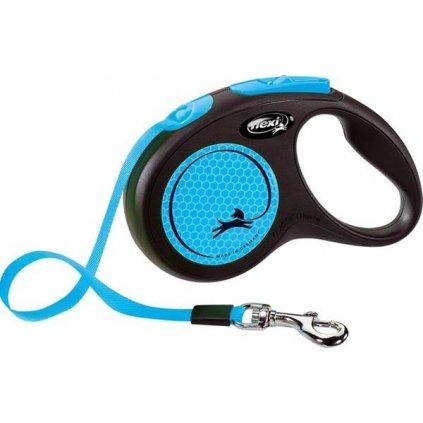 Flexi New Neon S pásek 5 m modré 15 kg