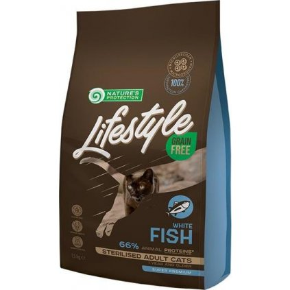 Nature's Protection Cat Dry LifeStyle GF Sterilised W.Fish 1,5 kg