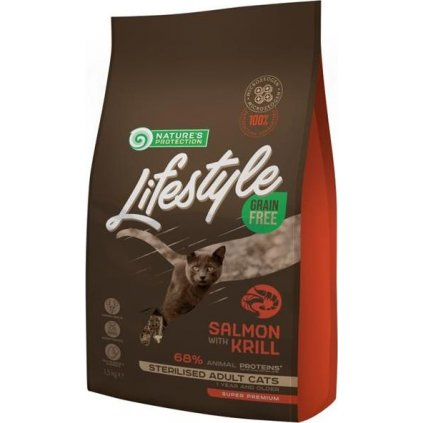 Nature's Protection Cat Dry LifeStyle GF Sterilised Salmon 1,5 kg