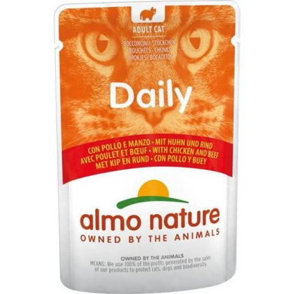 Almo Nature Daily Menu cat kaps. Kuře a hovězí 70g